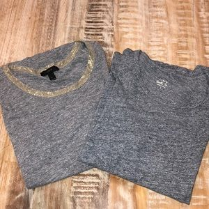 J Crew Painter Tee and Gold Trim Tee Lot L